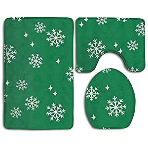 Snowflake Christmas 3 Piece Bathroom Rug Set Bath Rug, Contour Mat, & Lid Cover Non-Slip With Rubber Backing