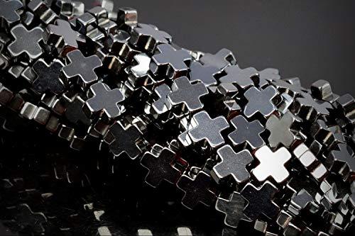 Black Hematite Cross - Approx. 66 Beads Lot - 6mm Black Hematite Cross Color Grade AAA Loose Jewelry Making Beads 16