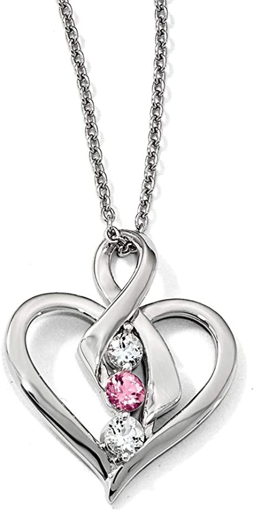 Survivor Sterling Silver Clear and Pink Topaz Heather Necklace 16