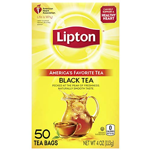 Lipton Tea Bags For A Naturally Smooth Taste Black Tea Can Help Support a Healthy Heart 4 oz 50 Count