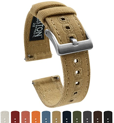 BARTON Canvas Quick Release Straps - Choose Color & Width - 18mm, 20mm, 22mm - Khaki 20mm