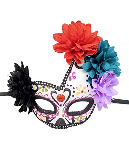 Women's Masquerade Mask Day of The Dead Mask Venetian Halloween Carnival Event Party Mask (Red gems) (Mask Los Dia Muertos De)