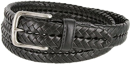"Hagora Men's Brown Braided Sturdy 1-1/4"" Wide Antique Brass Buckle Leather Belt,Black 38"