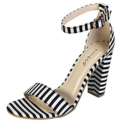 BAMBOO Women's Single Band Chunky Heel Sandal With Ankle Strap, Black White Stripe Fabric, 10.0 B US