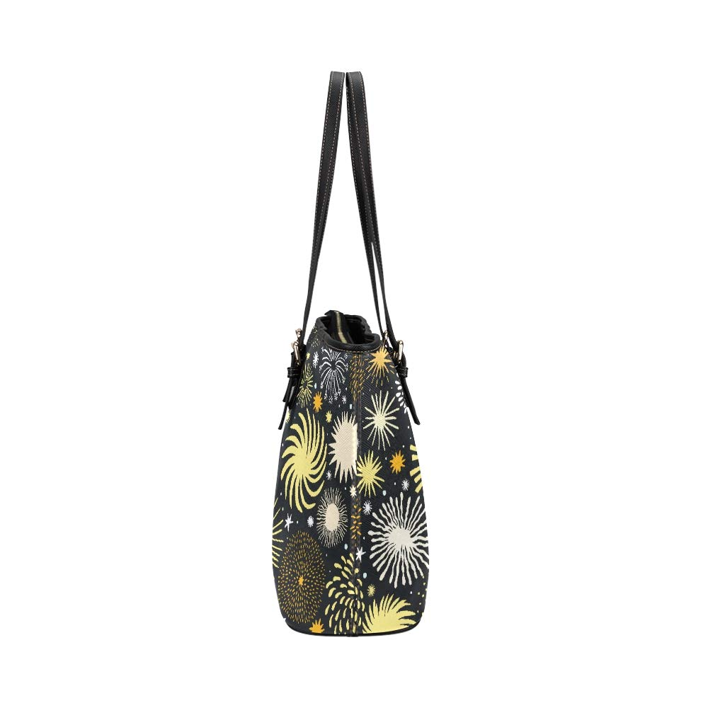 Firework Carnival Display Celebrate New Year Large Soft Leather Portable Top Handle Hand Totes Bags Causal Handbags With Zipper Shoulder Shopping Purse Luggage Organizer For Lady Girls Womens Work