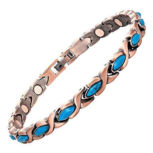 ProExl Copper Womens Magnetic Bracelet Turquoise Stones Varese 7.5 Gift Box