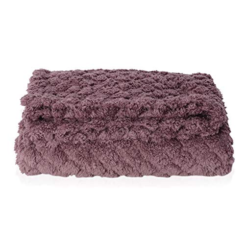 Mauve Micro Mink Ulrasonic Quilted Reversable Sherpa Blanket Throw 59X79