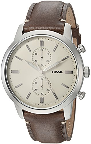 (Fossil Men's 44mm Townsman Stainless Steel Quartz Watch with Leather Calfskin Strap, Brown, 22 (Model: FS5350)