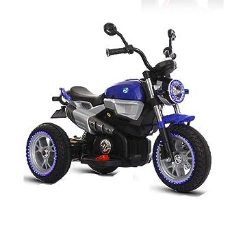 DDCX Los niños Antiguos de la Motocicleta eléctrica de Tres Ruedas de Gran tamaño 3-9 años de Edad Triciclo bebé se Puede Cargar,Blue: Amazon.es: Hogar