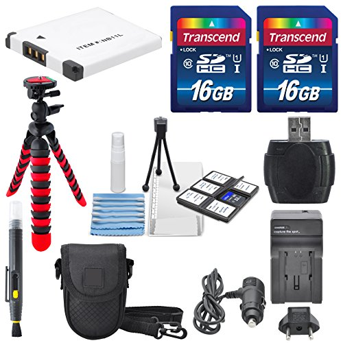 NB-11L Deluxe Accessory Bundle for Canon PowerShot Elph160, 170, 180, 190, 350, 360, Along with a Total of 32GB, Flexible Tripod, Battery, AC/DC Charger, and Cleaning Accessories