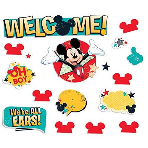 (Eureka Mickey Mouse Disney Classroom Welcome Bulletin Board Set 0.1'' x 6.5'' x 26'', 38 pc)