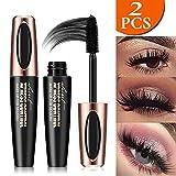 4D Silk Fiber Eyelash Mascara,Extra Long Lash Mascara and Thick, Long Lasting, Waterproof & Smudge-Proof, All Day Exquisitely Lush, Full, Long, Thick, Smudge-Proof Eyelashes-2PCS