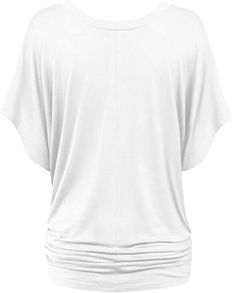 NiSeng Donne V-collo Shirring Manica Pipistrello Maglietta Tunica Pieghe Balze Manica Colore Solido Camicie Casual