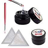 QIMYAR 2 Bottles Nail Art Adhesive Builder Glue Super Sticky with 2 Bags Mini Diamond Shining DIY Rhinestones Gems and 2 Pcs White Triangular Plate Trays & 2 Pcs Painting Pen