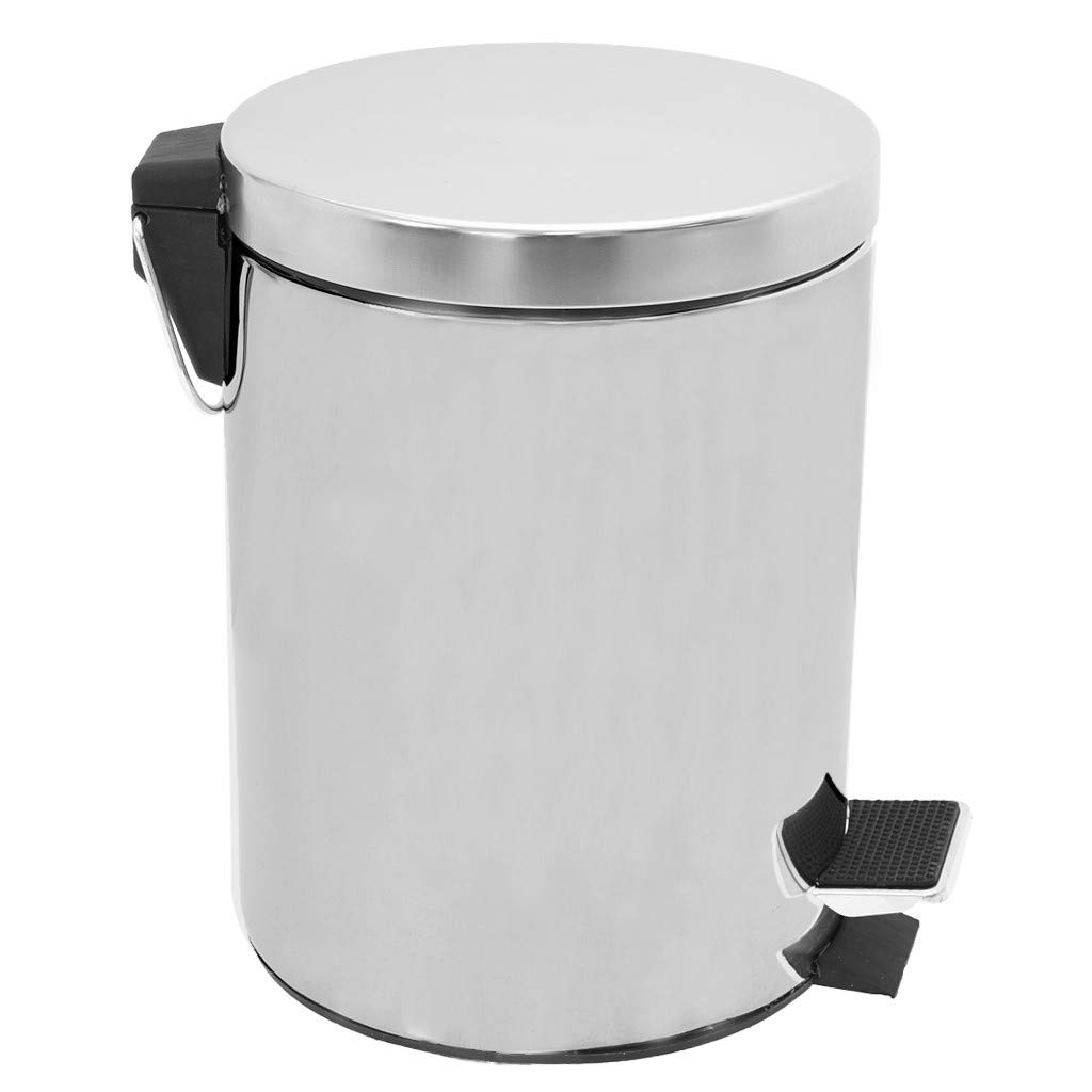 Hellofishly Round Stainless Steel Round Trash Can with Lid,Separation Design Pedal Trash Can Sanitary Bucket Large Capacity 5L