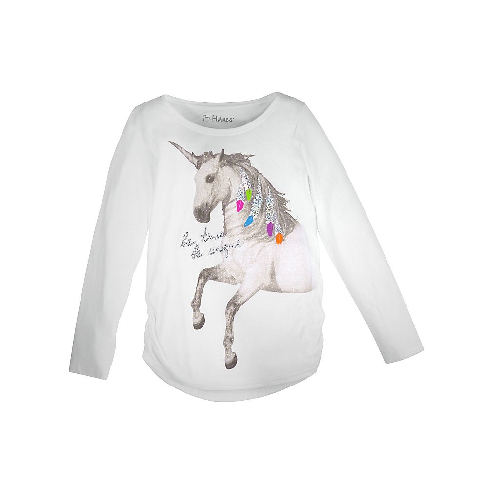 Hanes Girl`s Graphic Shirred Sideseam Long Sleeve Tee K368
