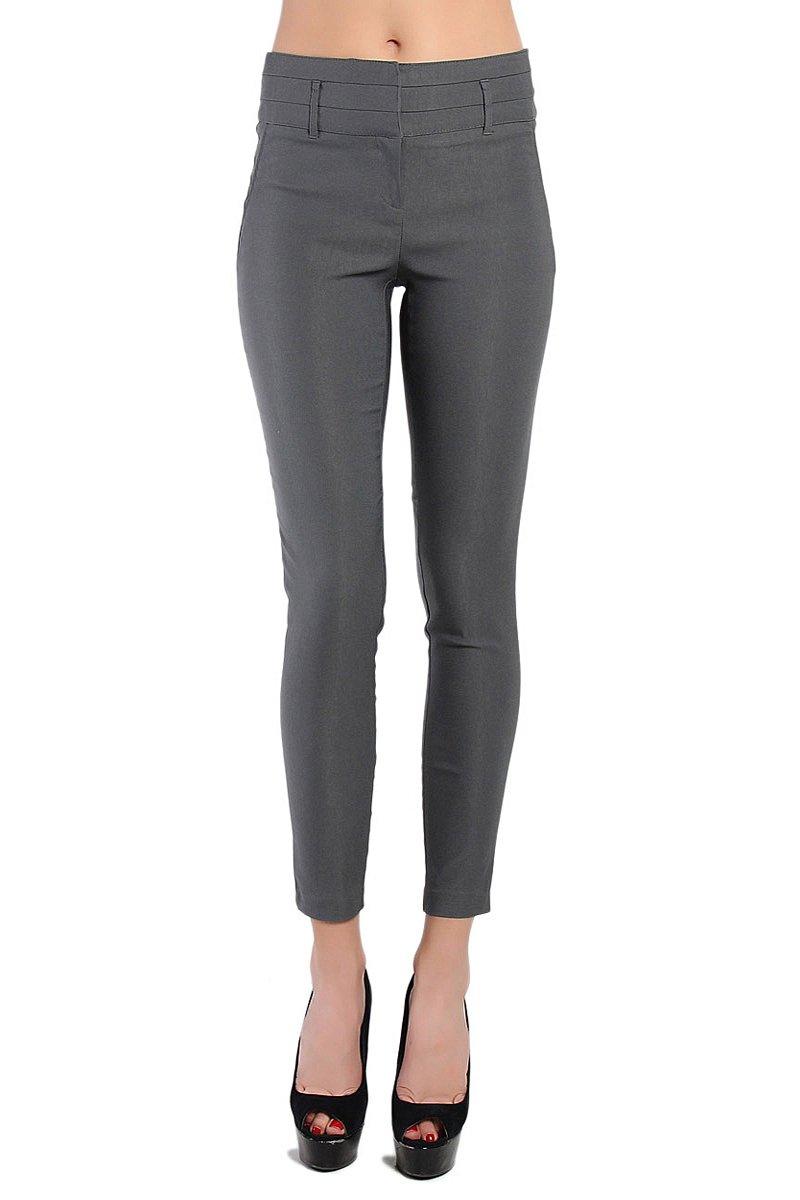 Themogan Women'S Wide Waist Slant Pocket Stretch Trousers-Grey L