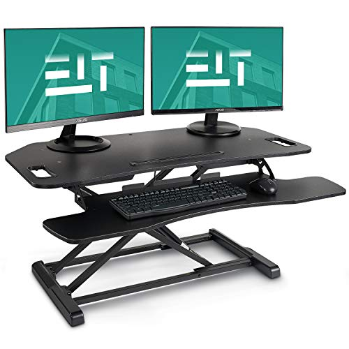 EleTab Height Adjustable Standing Desk Sit to Stand Gas Spring Riser Converter 37 inches Tabletop Workstation fits Dual Monitor ()