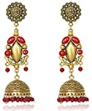 Sansar India Oxidized Stud Long Jhumka Indian Earrings Jewelry for Girls and Women 1191