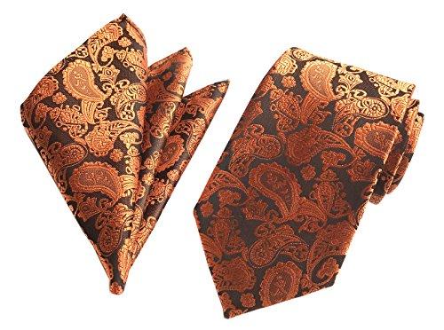 (Secdtie Men's Yellow Bronze Red Silk Ties Regular Soft Formal Dating Neckties)