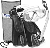 Cressi Palau Mask Fin Snorkel Set with Snorkeling Gear Bag, TT-LXL