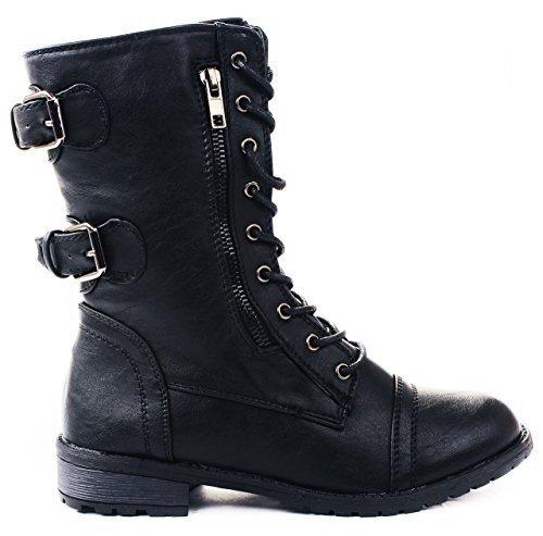 JJF Shoes Mango-61 Women Black Combat Lace Up Zip Grommet Buckle Mid Calf Motorcycle Boots-8.5