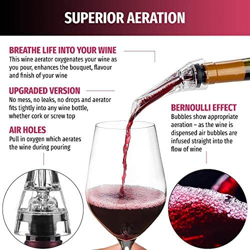 Premium Wine Aerator Decanter Wine Pourer with One Reusable Wine Bottle Stopper Wine Aerator Optimum Wine Spout with No Drip Enhance Flavor and Improve Wine Bouquet