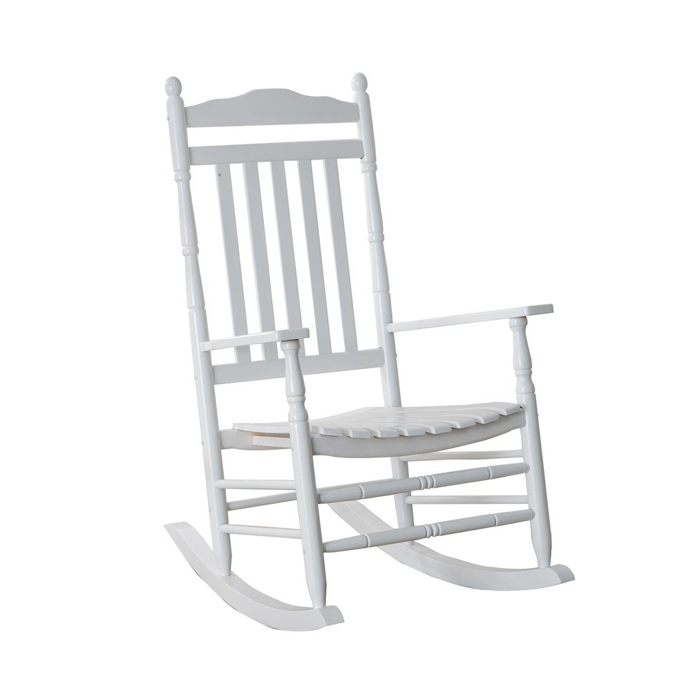B&Z KD-22W Wooden Rocking chair Porch Rocker White Outdoor Traditional Indoor by B&Z