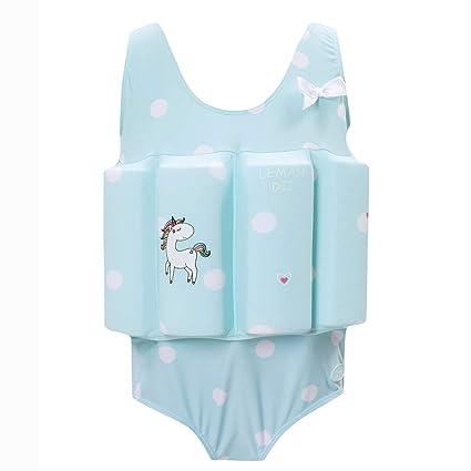 dd491327a1cd5 Zerlar Floatation Swimsuits with Adjustable Buoyancy for 1-10 Years Baby  Girls (Blue Unicorn