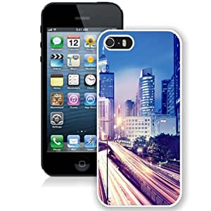 Personalized Phone Case Design with Hong Kong Night Lights Cityscape iPhone 5s Wallpaper in White