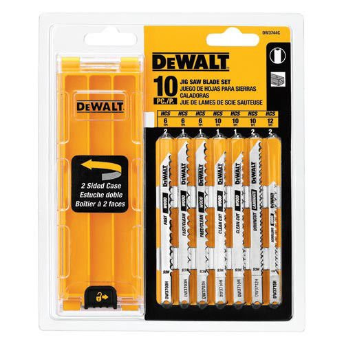DEWALT DW3744C DEWALT 10-piece Jig Saw Blade Set with case (U shank)