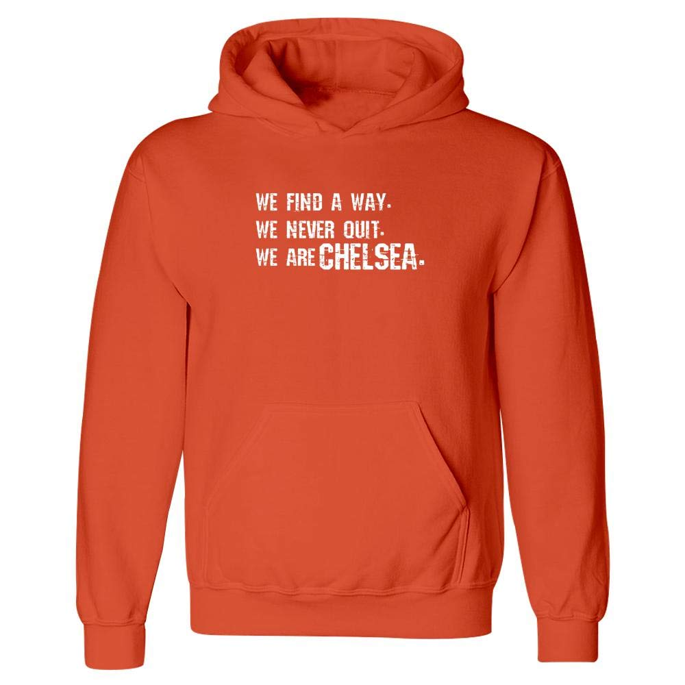 Massachusetts Pride Hoodie Orange We Never Quit We are Chelsea