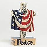 Jim Shore In God We Trust American Flag Draped Over Peace Cross Figurine