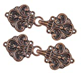 Bezelry Fleur De Lis Hook and Eye Cloak Clasp Fasteners Pack of 4 Pairs 70mm x 26mm Fastened. (Antique Copper)