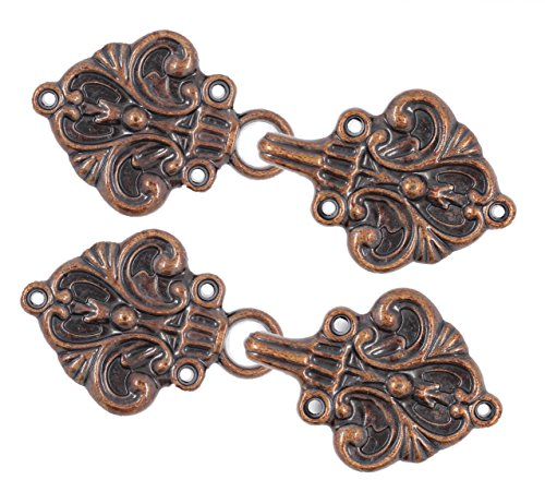 Bezelry Fleur De Lis Hook and Eye Cloak Clasp Fasteners Pack of 4 Pairs 70mm x 26mm Fastened. (Antique Copper) by BEZELRY