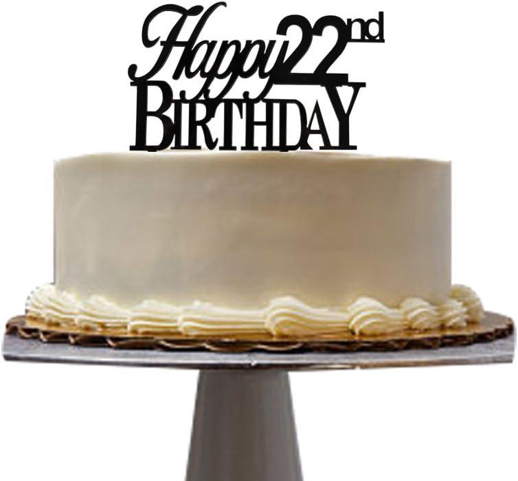 Incredible Santonila Happy 22Nd Birthday Cake Topper Black Acrylic For 22Nd Funny Birthday Cards Online Aboleapandamsfinfo