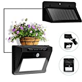 Bcway Outdoor Solar Lights Separable Solar Panel Waterproof Motion Sensor Security Light 10 LEDS Powered Wall Light with 8 Extension Cord for Indoor Garden Fence Patio Driveway Stairs