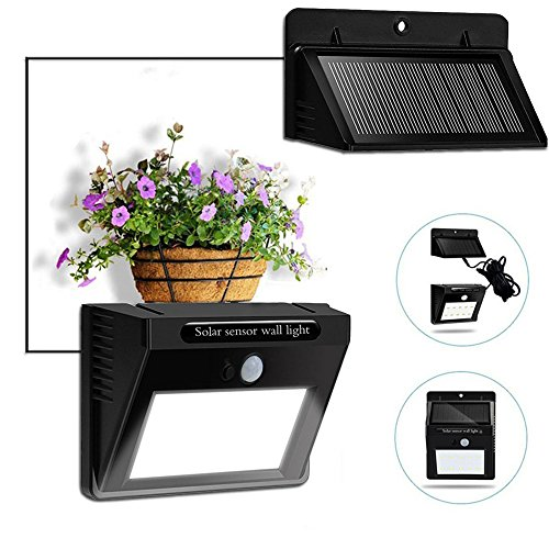 8' Wide Outdoor Wall Light (Bcway Outdoor Solar Lights, Separable Solar Panel, Waterproof Motion Sensor Security Light 10 LEDS Powered Wall Light with 8' Extension Cord for Indoor, Garden, Fence, Patio, Driveway, Stairs)