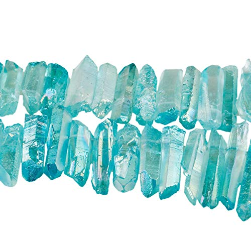 TUMBEELLUWA Rock Quartz Crystal Points Loose Beads for Jewelry Making, Titanium Coated Polished/Raw Quartz Points Beads 15 Inches Top Drilled,Turquoise Crystal ()