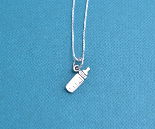 Baby bottle necklace in sterling silver on an 18