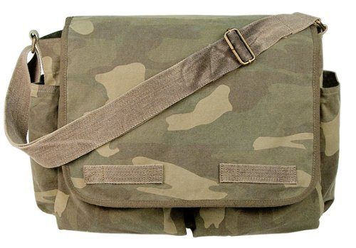 Woodland Camouflage Vintage Heavyweight Classic Messenger Bag e97450be00a
