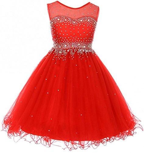 Big Girls' Sparkling Rhinestone Illusion Tulle Junior Bridesmaid Pageant Flower Girl Dress Red 16 (C50C29C)