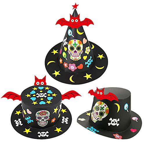 Zoylink 3PCS Kids Halloween Hat Creative Skeleton Head Bat DIY Costume Hat Party Hat -