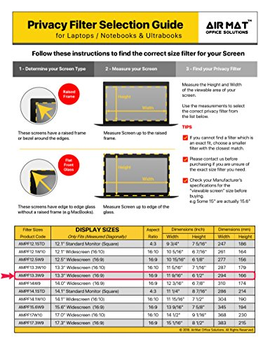 13.3 Inch Privacy Screen Filter for Widescreen Laptop/Notebook, Tablet (16:9 Aspect Ratio). Best as Anti Glare Protector Film for data confidentiality - compare to 3M (13.3W9) by Air Mat (Image #5)