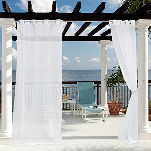 "White Linen Sheer Outdoor Curtains - Light Flitering Outdoor Curtains for Patio, Rust Proof Grommet Sheer Panels Drapes with Free Rope Tie Back for Weeding/Deck/Yard, Single Panel, 54""W x 96""L"