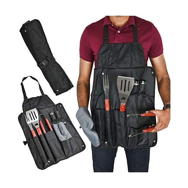 Bargain - Kit di attrezzi da barbecue universale per barbecue, set di 7 utensili per grigliare, grembiule da cucina da… 1 spesavip