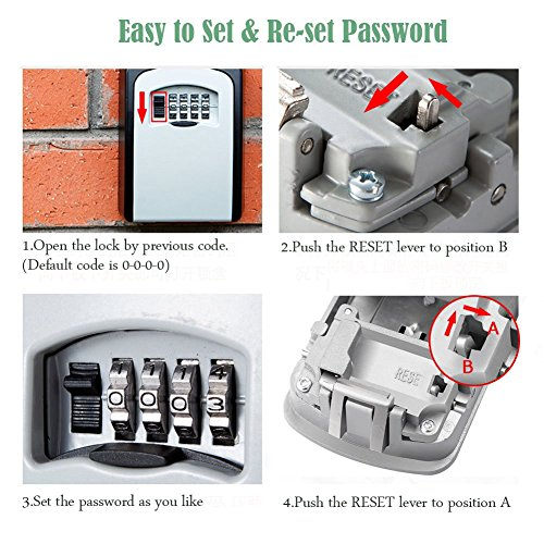 Key Storage Security Lock, V-Resourcing Wall Mounted Outdoor Key Safe Lock  Box with 4-Digit Combination Secure Cabinet, to Share and Secure Keys for