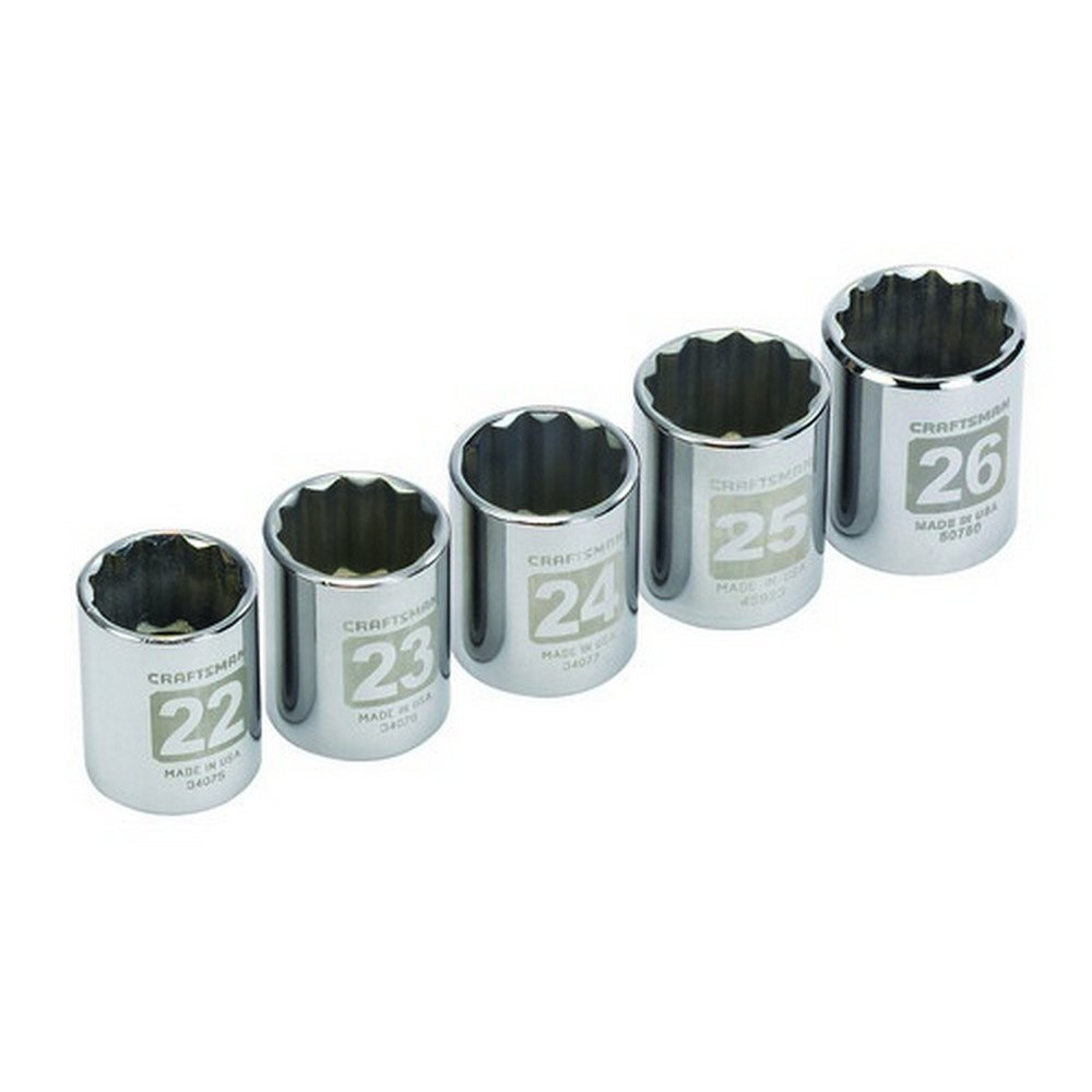 Craftsman 5 pc. Metric 12 pt. 1/2 in. dr. Large Socket Easy-to-Read Socket Accessory Set 9-34574