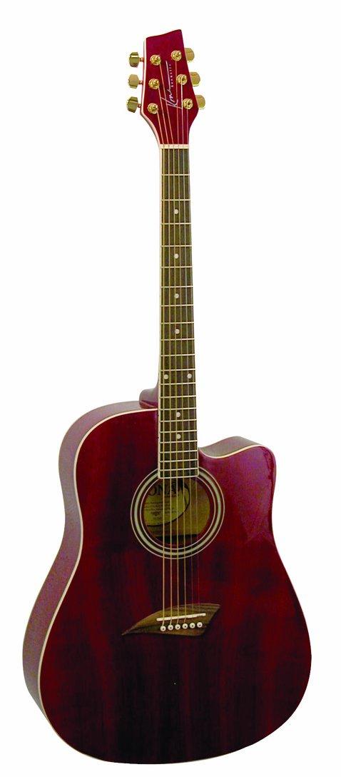 Kona K1TRD Acoustic Dreadnought Cutaway Guitar in Transparent Red Finish アコースティックギター アコギ ギター (並行輸入) B008DCOOEK