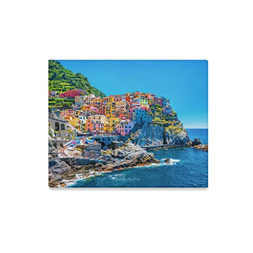 InterestPrint Colorful European Cityscape Italian Architecture with Mountains and Sea Canvas Prints Wall Art Stretched and Framed Modern Home Decor, 20 x 16 Inches